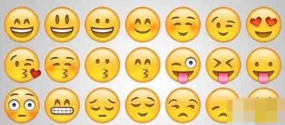 这些表情符号包括了有脸部表情,手势,肢体动作,奖牌,食物等.图片
